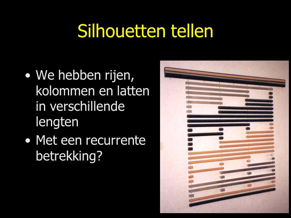 Silhouetten tellen We hebben rijen, kolommen en latten in verschillende lengten Met een recurrente betrekking?