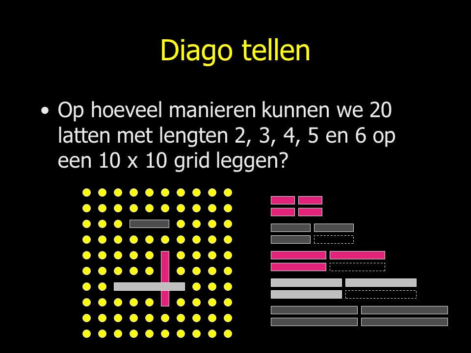 Diago tellen Op hoeveel manieren kunnen we 20 latten met lengten 2, 3, 4, 5 en 6 op een 10 x 10 grid leggen?