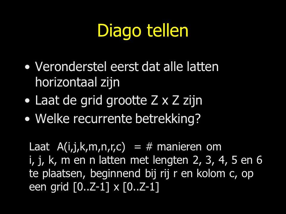 Diago tellen Veronderstel eerst dat alle latten horizontaal zijn Laat de grid grootte Z x Z zijn Welke recurrente betrekking? Laat A(i,j,k,m,n,r,c) =