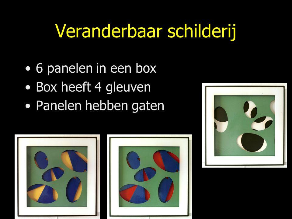 Veranderbaar schilderij 6 panelen in een box Box heeft 4 gleuven Panelen hebben gaten