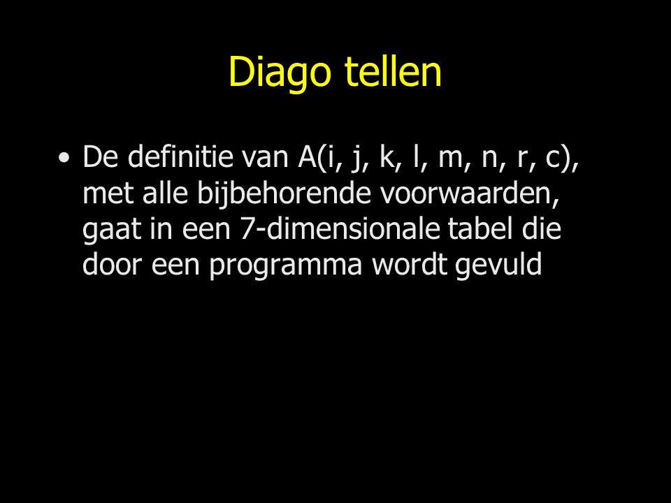 Diago tellen De definitie van A(i, j, k, l, m, n, r, c), met alle bijbehorende voorwaarden, gaat in een 7-dimensionale tabel die door een programma wo