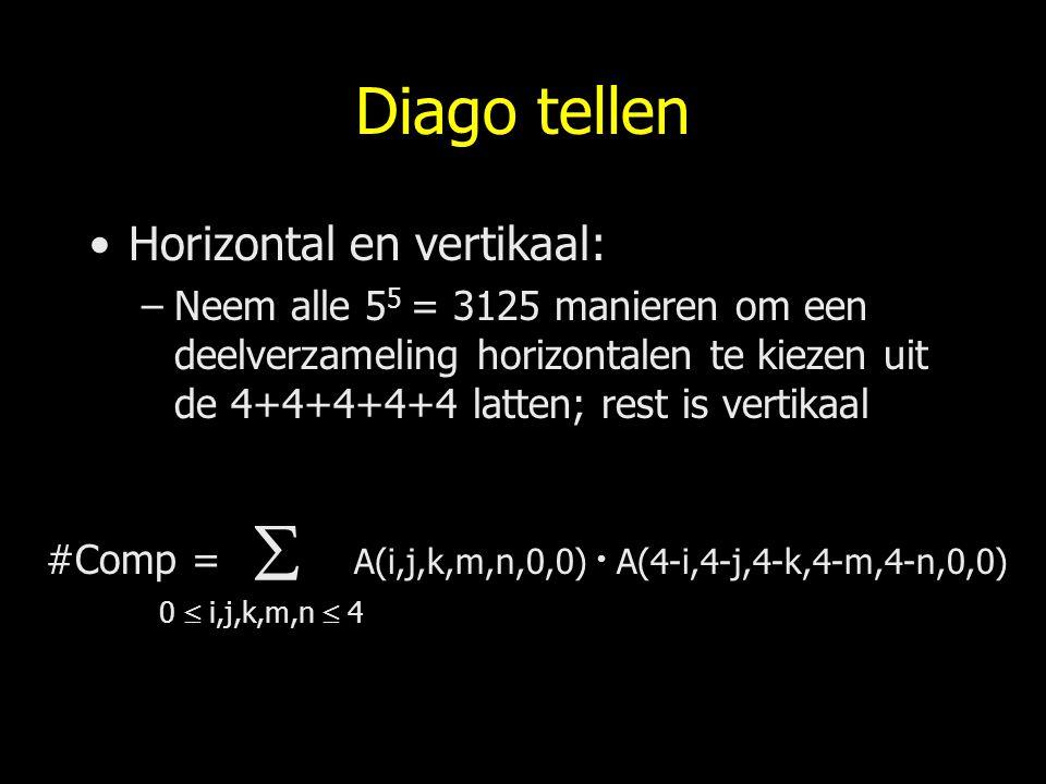 Diago tellen Horizontal en vertikaal: –Neem alle 5 5 = 3125 manieren om een deelverzameling horizontalen te kiezen uit de 4+4+4+4+4 latten; rest is ve