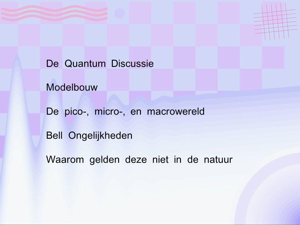 De Quantum Discussie Modelbouw De pico-, micro-, en macrowereld Bell Ongelijkheden Waarom gelden deze niet in de natuur