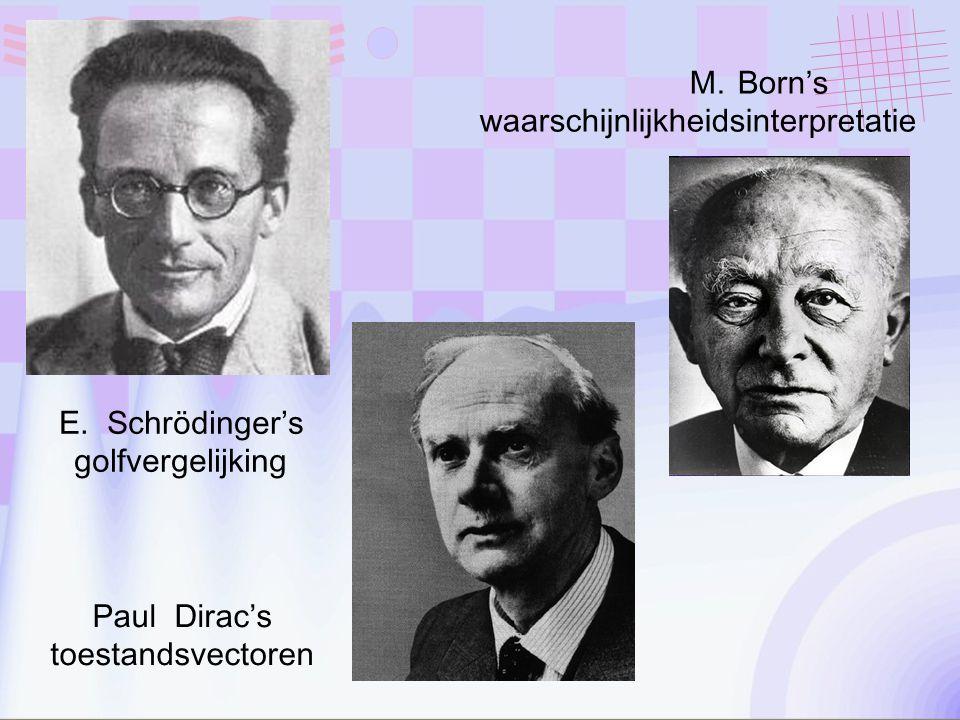 E.Schrödinger's golfvergelijking M.Born's waarschijnlijkheidsinterpretatie Paul Dirac's toestandsvectoren