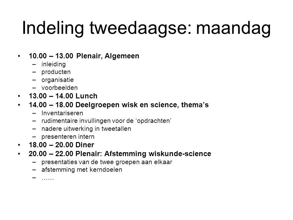 Indeling tweedaagse: dinsdag 09.00 – 10.30 Plenair: inhoud die lastig in thema's past –methodecheck –definitie van oefenmateriaal –bepaling werkvormen 10.30 – 13.00 Deelgroepen Wiskunde en Science –Detaillering thematische opdrachten –Uitwerking oefenmateriaal 13.00 – 14.00 Lunch 14.00 – 16.00 Deelgroepen Wiskunde en Science –Detaillering thematische opdrachten –Uitwerking oefenmateriaal 16.00 – 17.00 Plenair, stand van zaken en afspraken –copyright,...