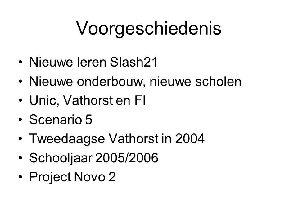 Voorgeschiedenis Nieuwe leren Slash21 Nieuwe onderbouw, nieuwe scholen Unic, Vathorst en FI Scenario 5 Tweedaagse Vathorst in 2004 Schooljaar 2005/2006 Project Novo 2