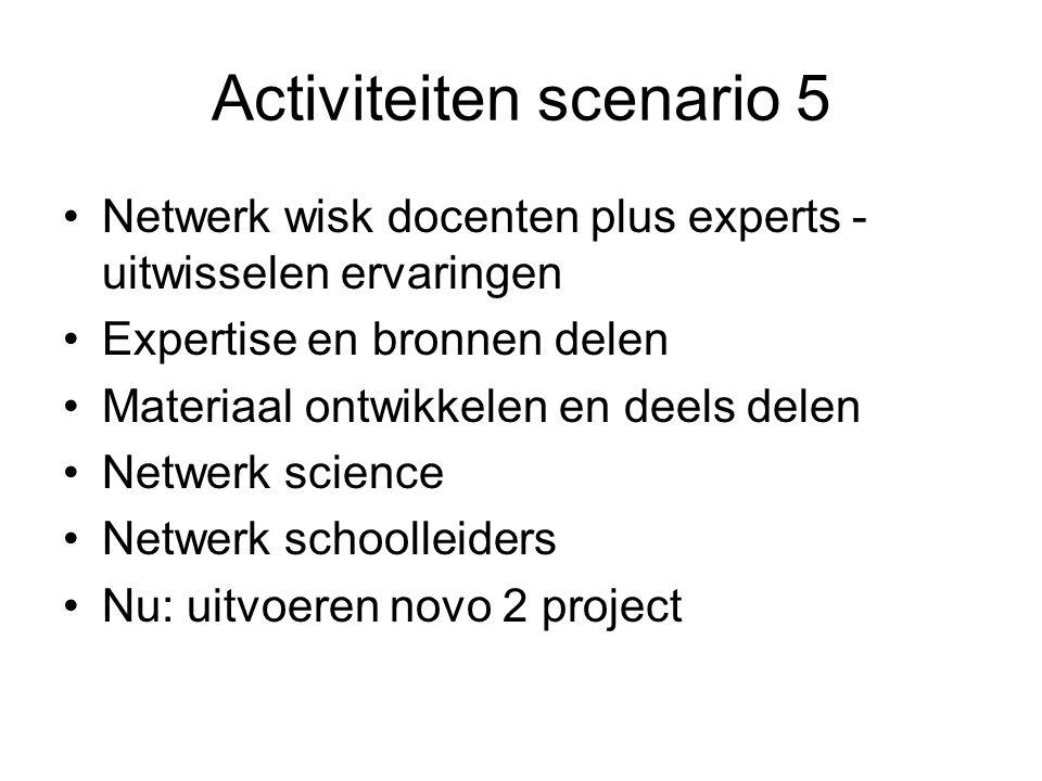 Activiteiten scenario 5 Netwerk wisk docenten plus experts - uitwisselen ervaringen Expertise en bronnen delen Materiaal ontwikkelen en deels delen Netwerk science Netwerk schoolleiders Nu: uitvoeren novo 2 project