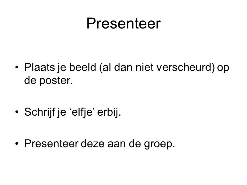 Presenteer Plaats je beeld (al dan niet verscheurd) op de poster. Schrijf je 'elfje' erbij. Presenteer deze aan de groep.