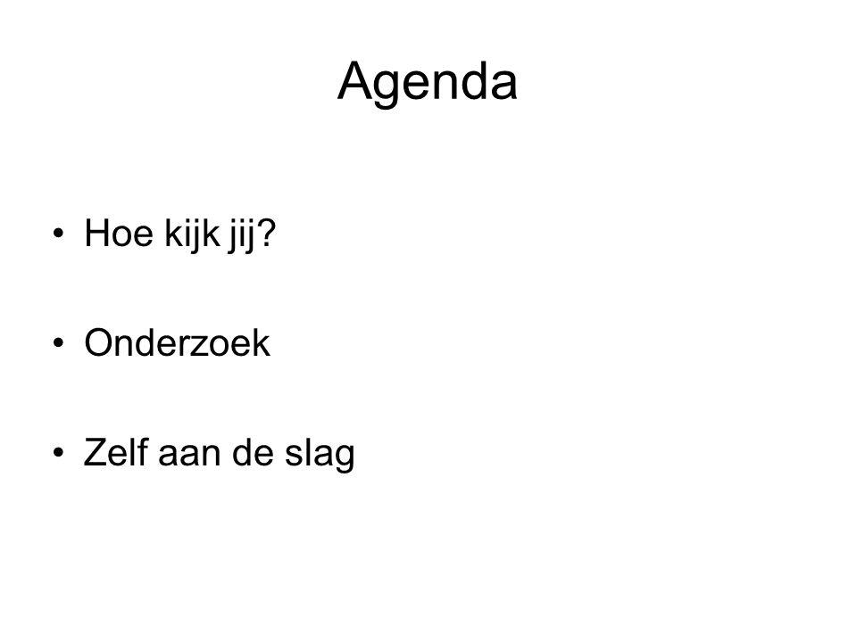 Agenda Hoe kijk jij? Onderzoek Zelf aan de slag