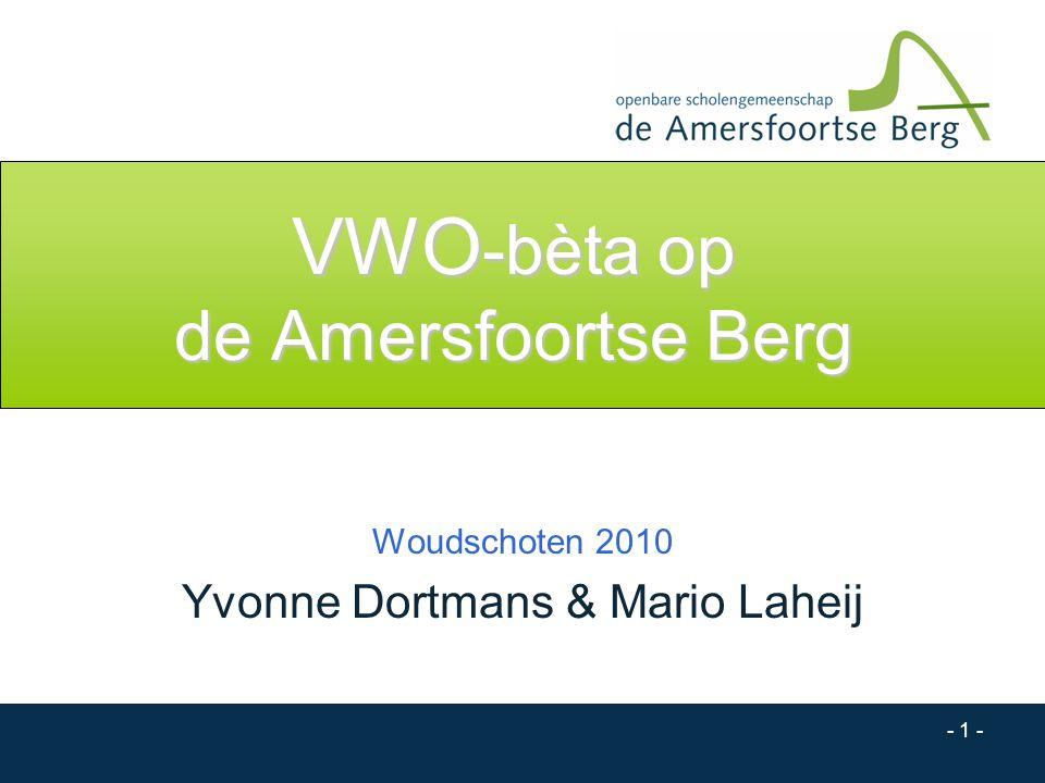 - 1 - VWO -bèta op de Amersfoortse Berg Woudschoten 2010 Yvonne Dortmans & Mario Laheij