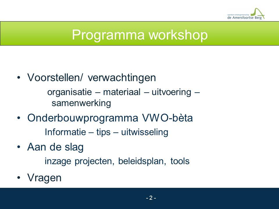 - 3 - Onderwerpen workshop Organisatie Faciliteren Urenverantwoording Lessentabel Materiaal Projectonderwerpen Opbouw van project Beleidsplan Uitvoering Begeleiding Beoordeling