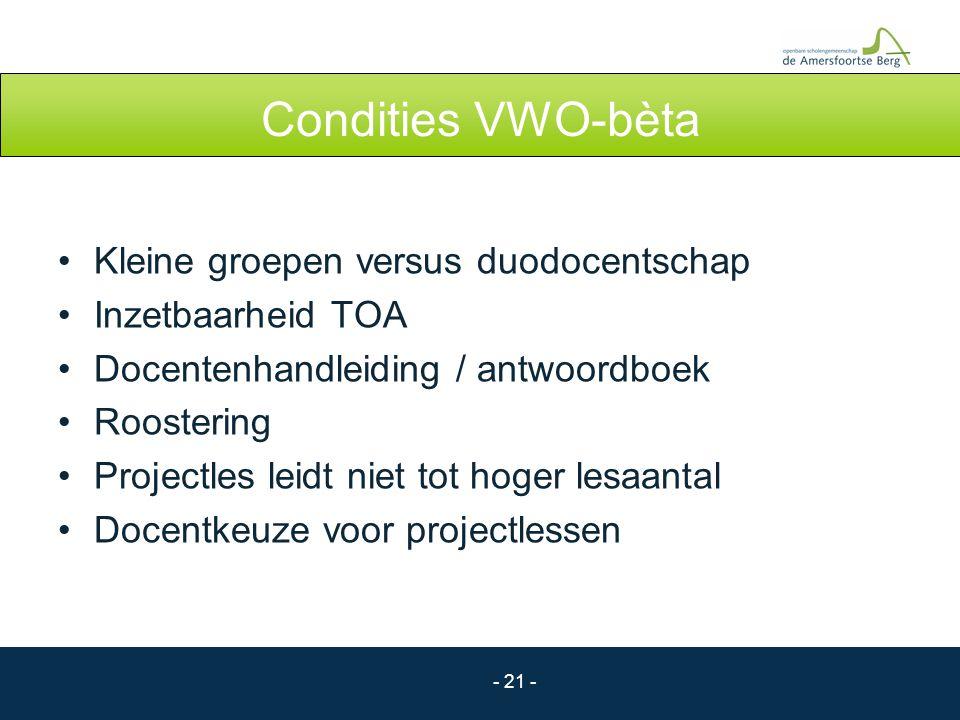 - 21 - Condities VWO-bèta Kleine groepen versus duodocentschap Inzetbaarheid TOA Docentenhandleiding / antwoordboek Roostering Projectles leidt niet t