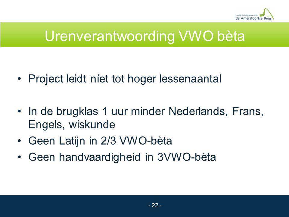 - 22 - Urenverantwoording VWO bèta Project leidt níet tot hoger lessenaantal In de brugklas 1 uur minder Nederlands, Frans, Engels, wiskunde Geen Lati
