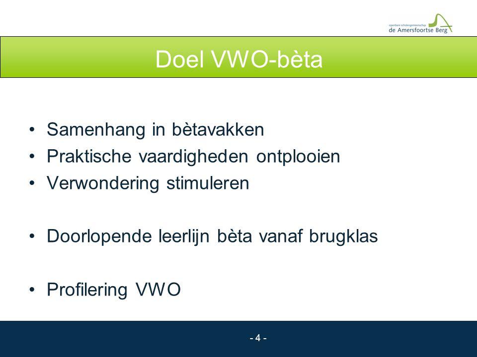 - 4 - Doel VWO-bèta Samenhang in bètavakken Praktische vaardigheden ontplooien Verwondering stimuleren Doorlopende leerlijn bèta vanaf brugklas Profil