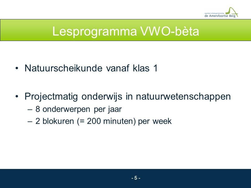 - 5 - Lesprogramma VWO-bèta Natuurscheikunde vanaf klas 1 Projectmatig onderwijs in natuurwetenschappen –8 onderwerpen per jaar –2 blokuren (= 200 min