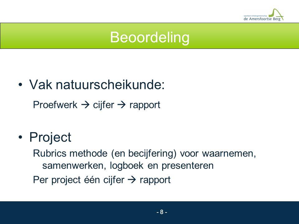 - 8 - Beoordeling Vak natuurscheikunde: Proefwerk  cijfer  rapport Project Rubrics methode (en becijfering) voor waarnemen, samenwerken, logboek en
