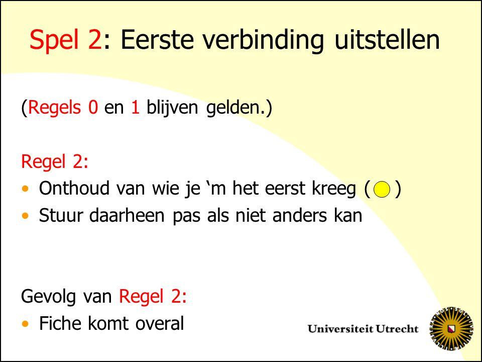 Spel 2: Eerste verbinding uitstellen (Regels 0 en 1 blijven gelden.) Regel 2: Onthoud van wie je 'm het eerst kreeg ( ) Stuur daarheen pas als niet anders kan Gevolg van Regel 2: Fiche komt overal