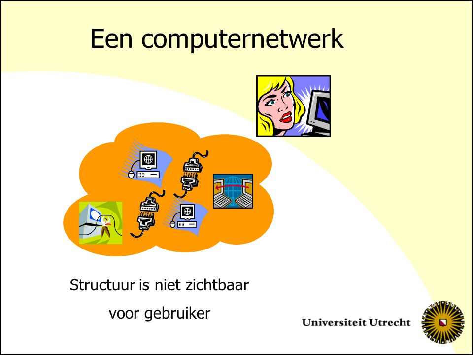 Een computernetwerk Structuur is niet zichtbaar voor gebruiker