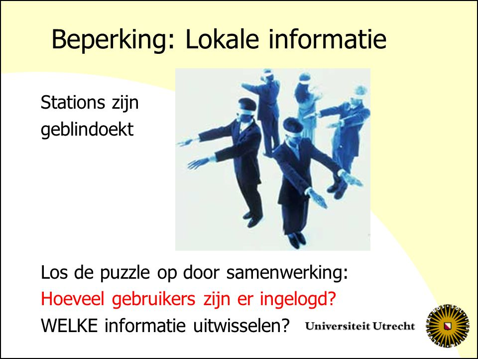 Beperking: Lokale informatie Stations zijn geblindoekt Los de puzzle op door samenwerking: Hoeveel gebruikers zijn er ingelogd.