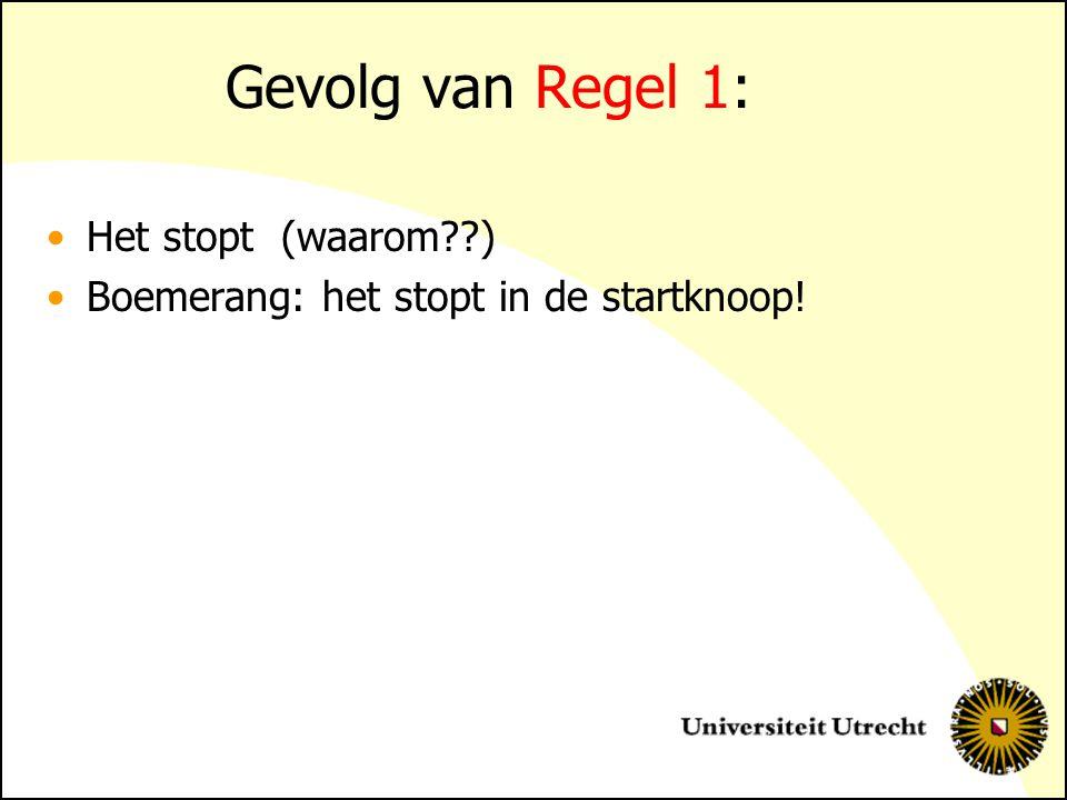 Gevolg van Regel 1: Het stopt (waarom??) Boemerang: het stopt in de startknoop!