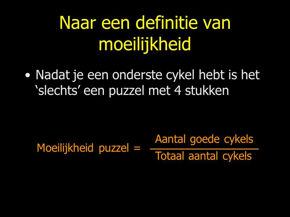 Naar een definitie van moeilijkheid Nadat je een onderste cykel hebt is het 'slechts' een puzzel met 4 stukken Moeilijkheid puzzel = Aantal goede cyke