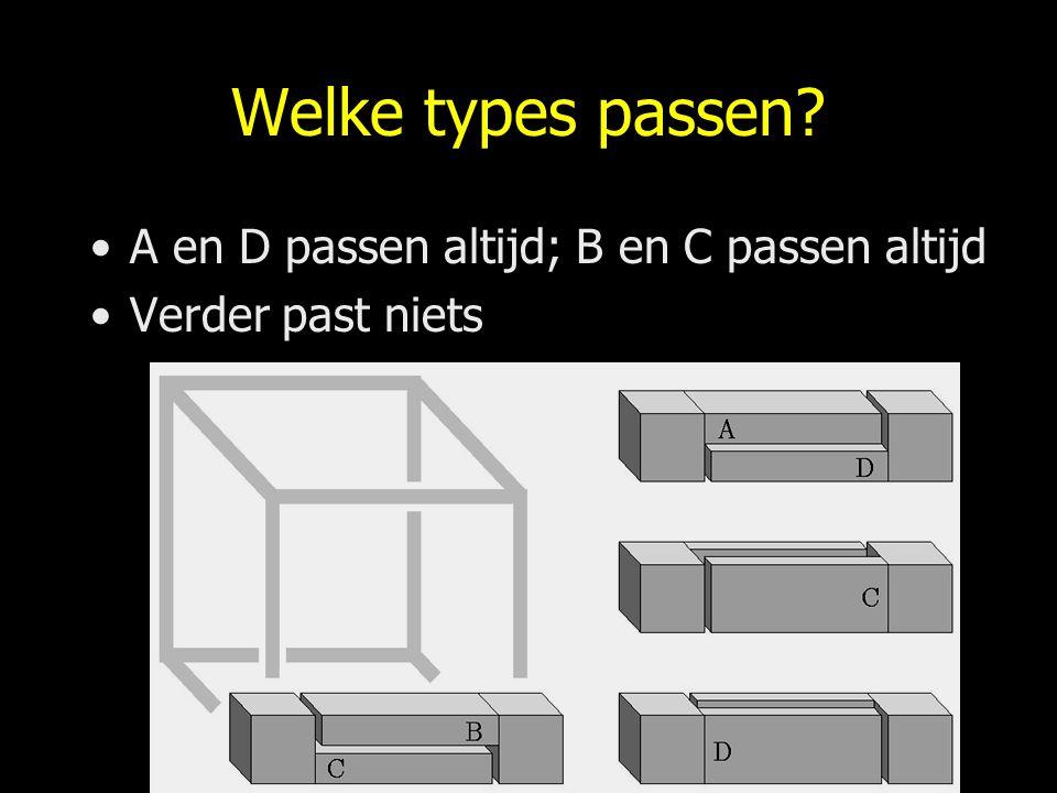 Welke types passen? A en D passen altijd; B en C passen altijd Verder past niets