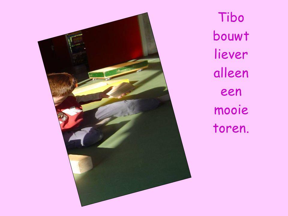 Tibo bouwt liever alleen een mooie toren.