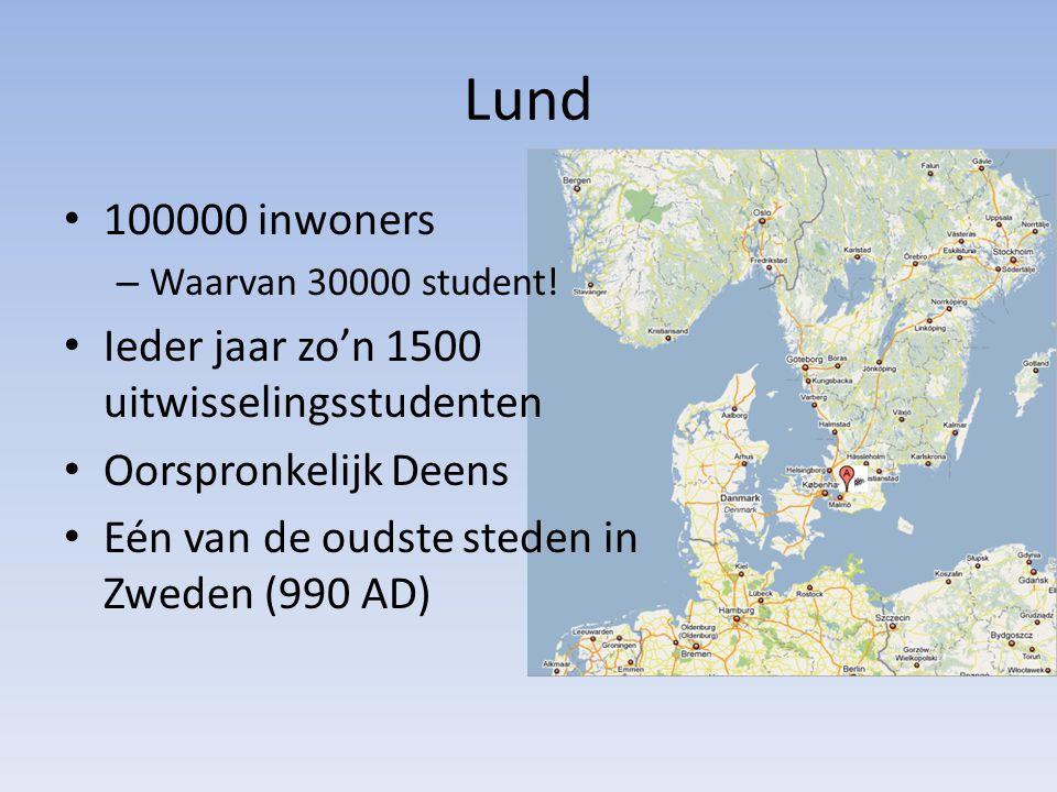 Lund 100000 inwoners – Waarvan 30000 student.
