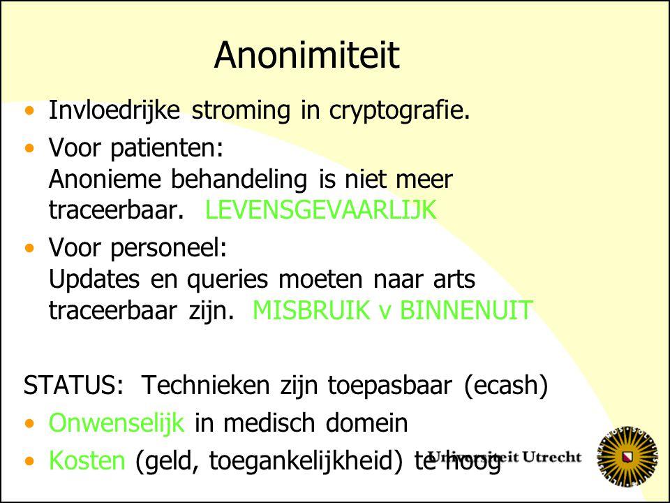 Anonimiteit Invloedrijke stroming in cryptografie. Voor patienten: Anonieme behandeling is niet meer traceerbaar. LEVENSGEVAARLIJK Voor personeel: Upd