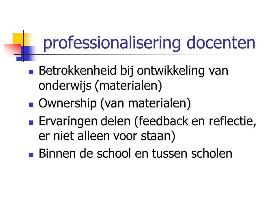 professionalisering docenten Betrokkenheid bij ontwikkeling van onderwijs (materialen) Ownership (van materialen) Ervaringen delen (feedback en reflec