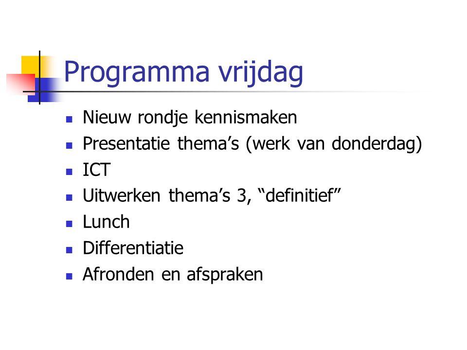"""Programma vrijdag Nieuw rondje kennismaken Presentatie thema's (werk van donderdag) ICT Uitwerken thema's 3, """"definitief"""" Lunch Differentiatie Afronde"""