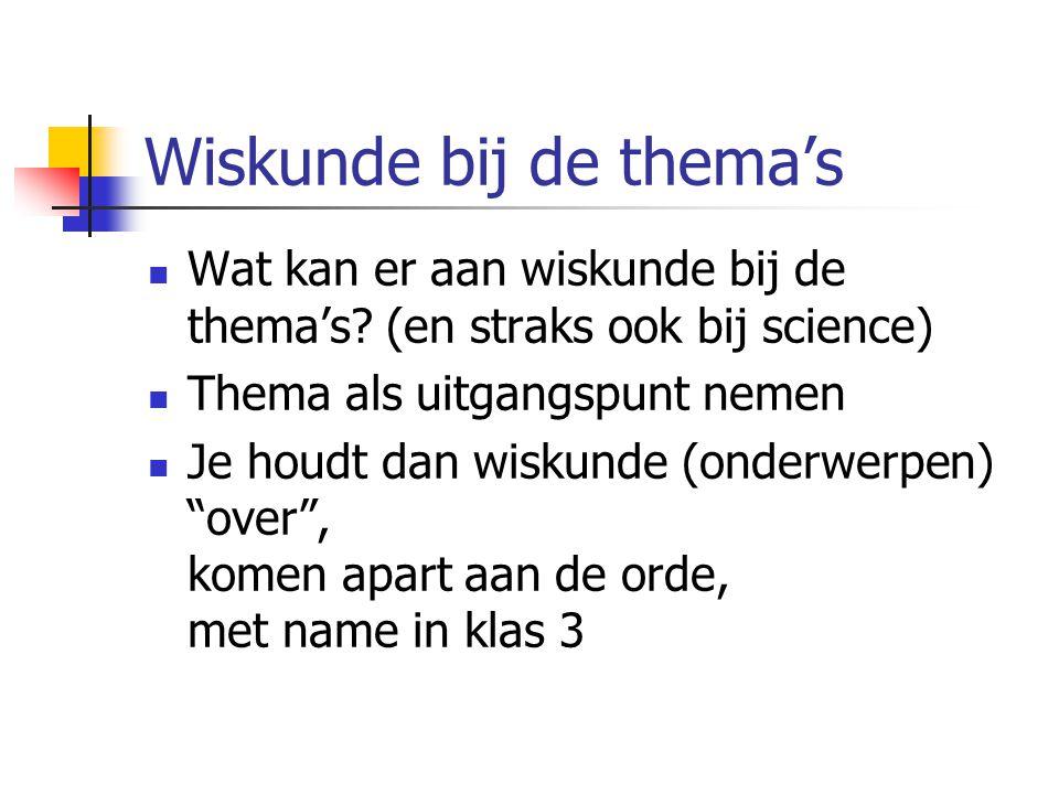 Topics X Thema X Wiskunde 6 thema's voor leerjaar 1 5 cultuurperiodes en reis om wereld 7 (ongeveer) topics handel, vervoer, kaarten, architectuur, informatie, kunst, wetenschap & techniek Kerndoelen en inhouden