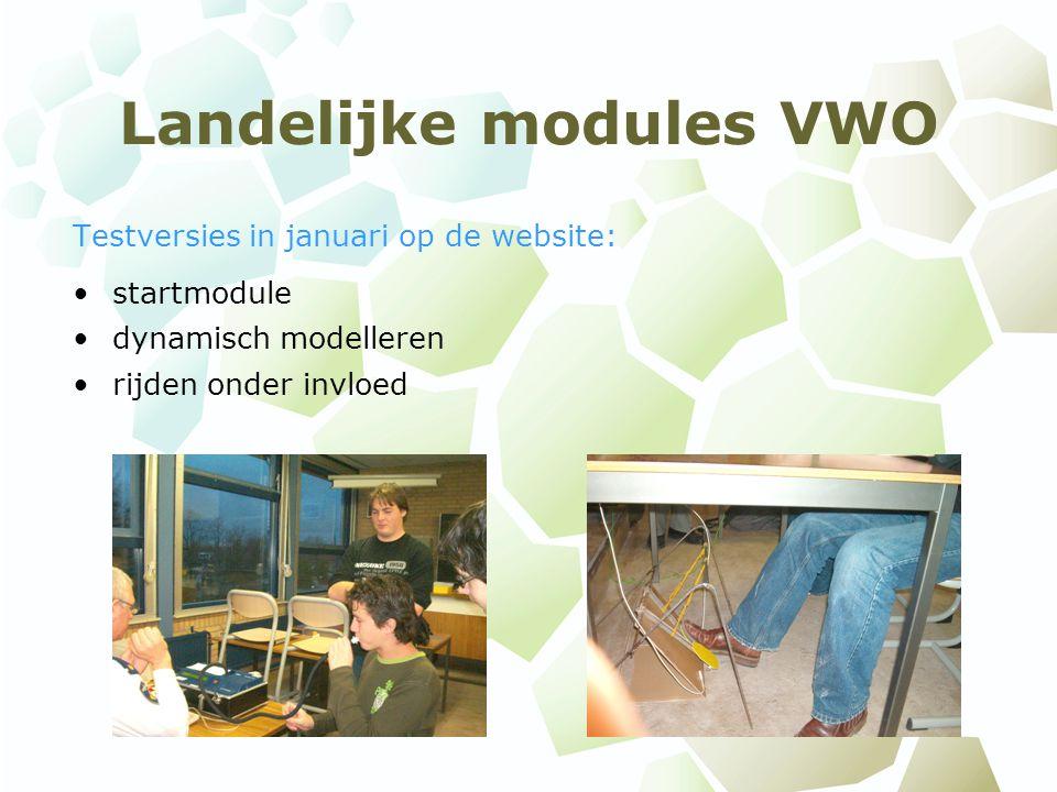 Landelijke modules VWO Testversies in januari op de website: startmodule dynamisch modelleren rijden onder invloed