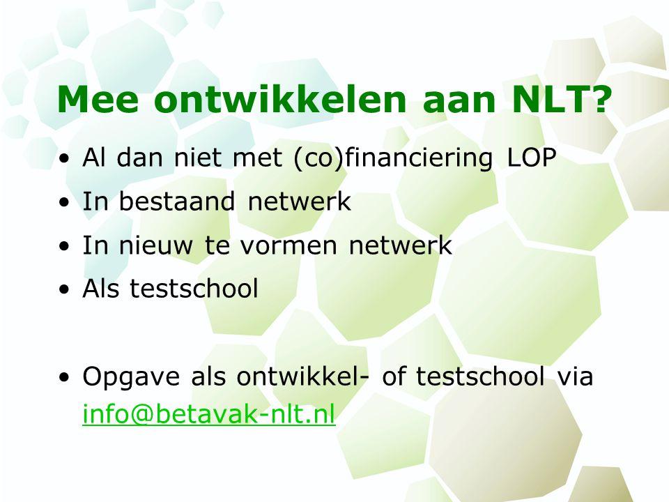Mee ontwikkelen aan NLT.