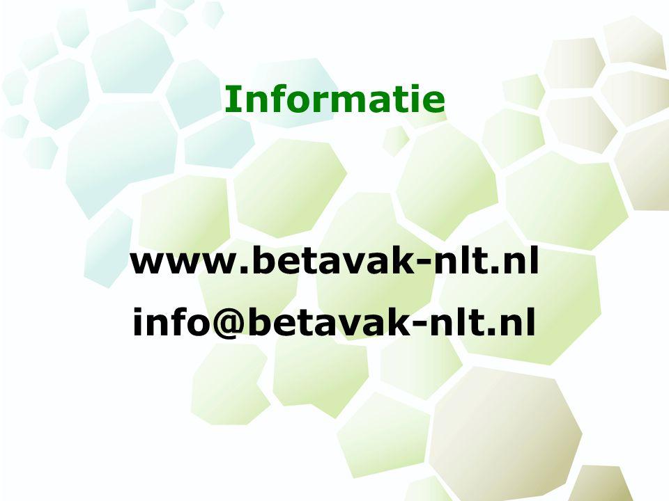 Informatie www.betavak-nlt.nl info@betavak-nlt.nl