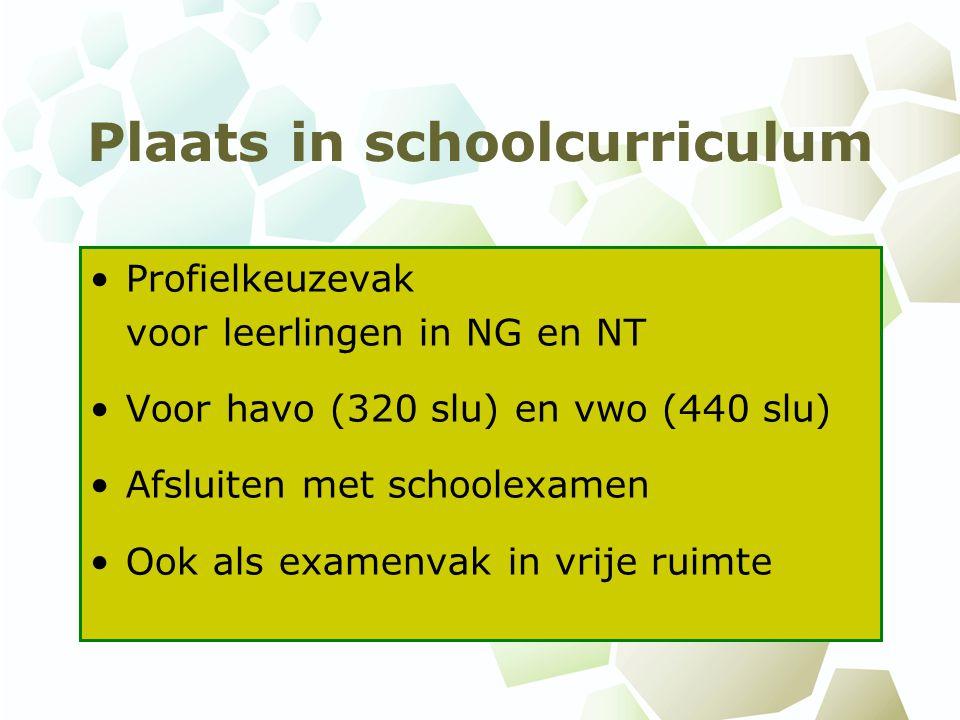 Plaats in schoolcurriculum Profielkeuzevak voor leerlingen in NG en NT Voor havo (320 slu) en vwo (440 slu) Afsluiten met schoolexamen Ook als examenvak in vrije ruimte
