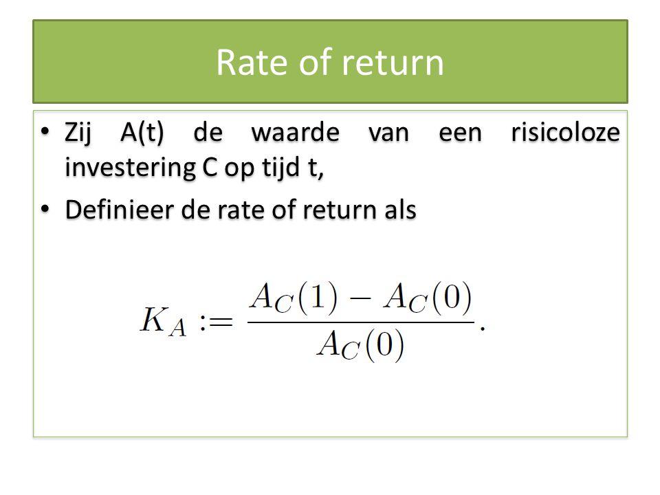Rate of return Zij A(t) de waarde van een risicoloze investering C op tijd t, Definieer de rate of return als Zij A(t) de waarde van een risicoloze in