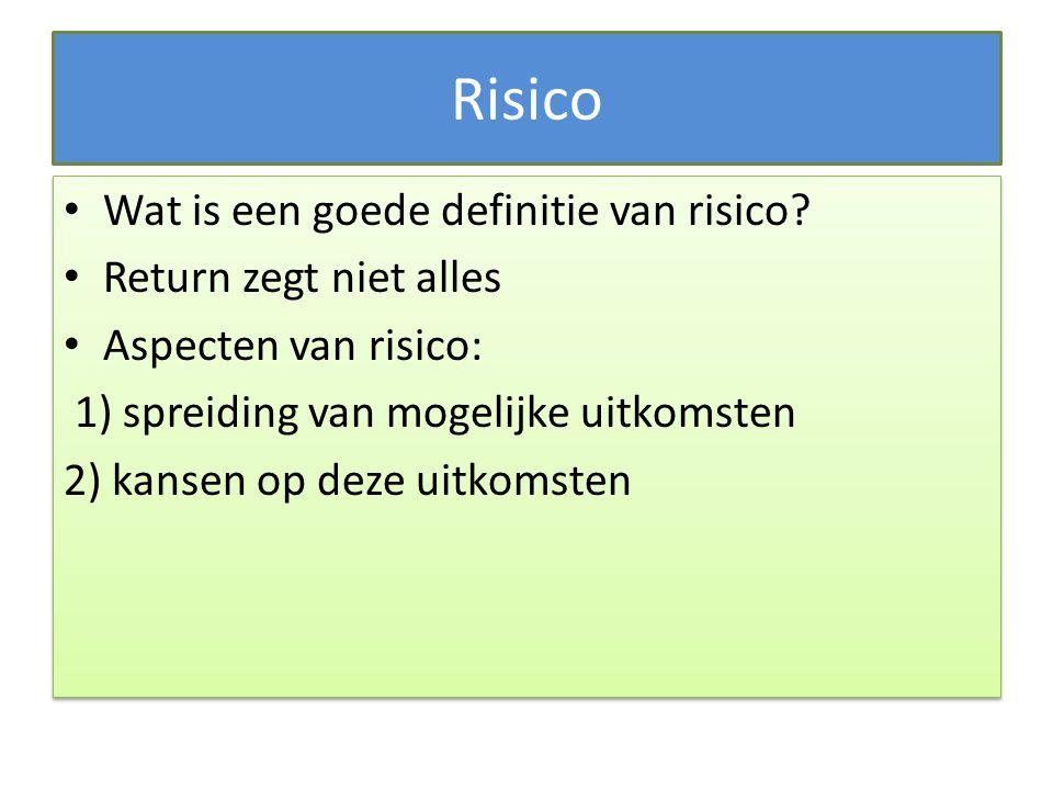 Risico Wat is een goede definitie van risico? Return zegt niet alles Aspecten van risico: 1) spreiding van mogelijke uitkomsten 2) kansen op deze uitk