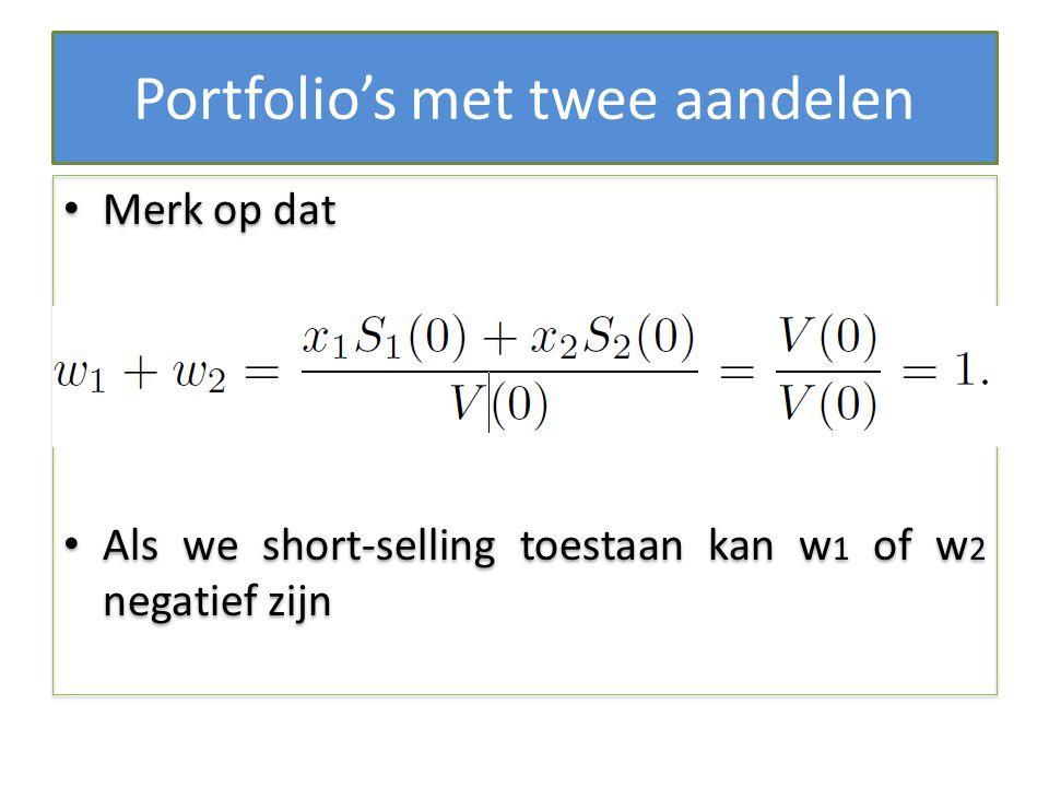 Portfolio's met twee aandelen Merk op dat Als we short-selling toestaan kan w 1 of w 2 negatief zijn Merk op dat Als we short-selling toestaan kan w 1