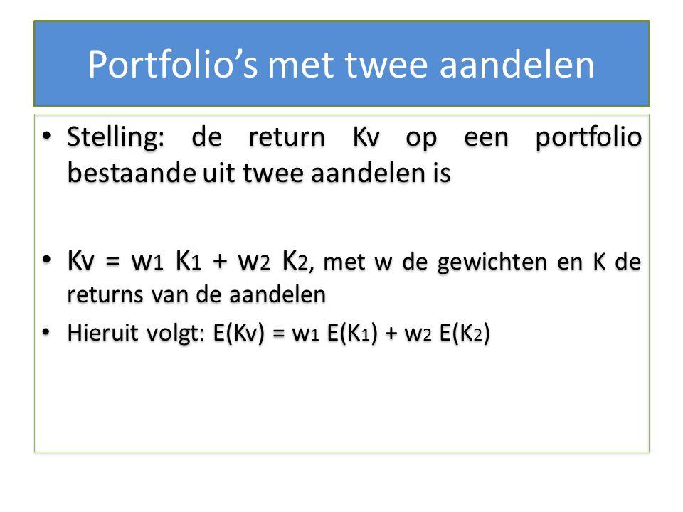 Portfolio's met twee aandelen Stelling: de return Kv op een portfolio bestaande uit twee aandelen is Kv = w 1 K 1 + w 2 K 2, met w de gewichten en K d