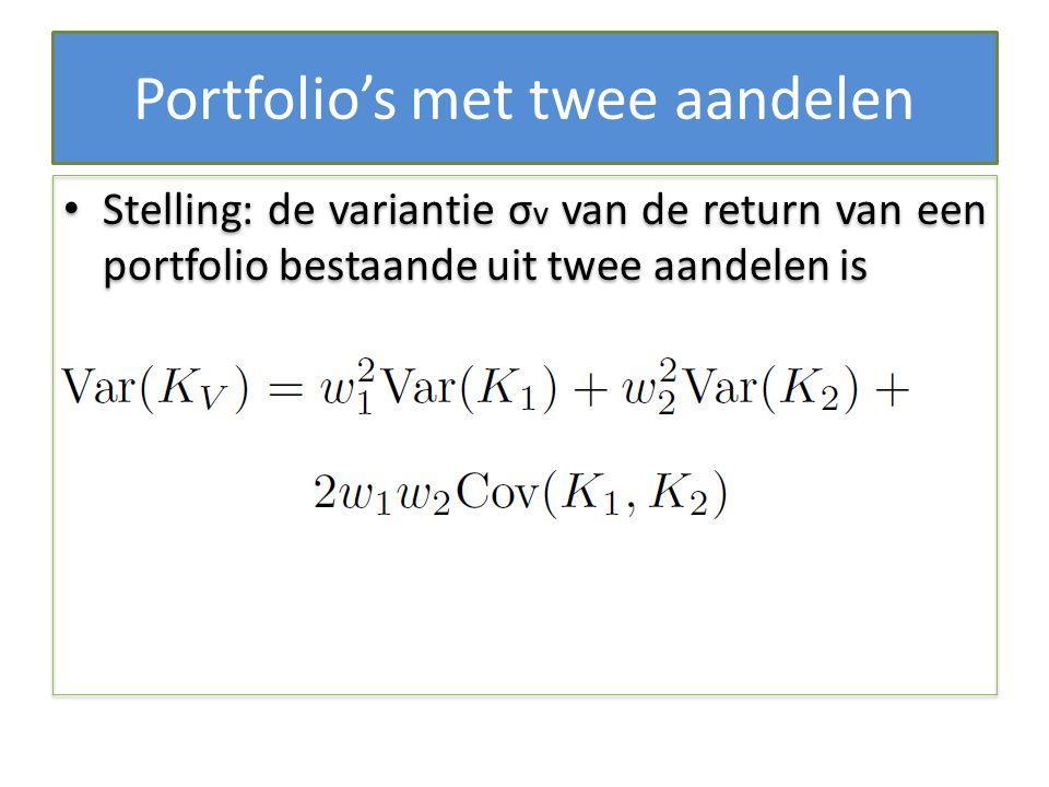 Portfolio's met twee aandelen Stelling: de variantie σ v van de return van een portfolio bestaande uit twee aandelen is