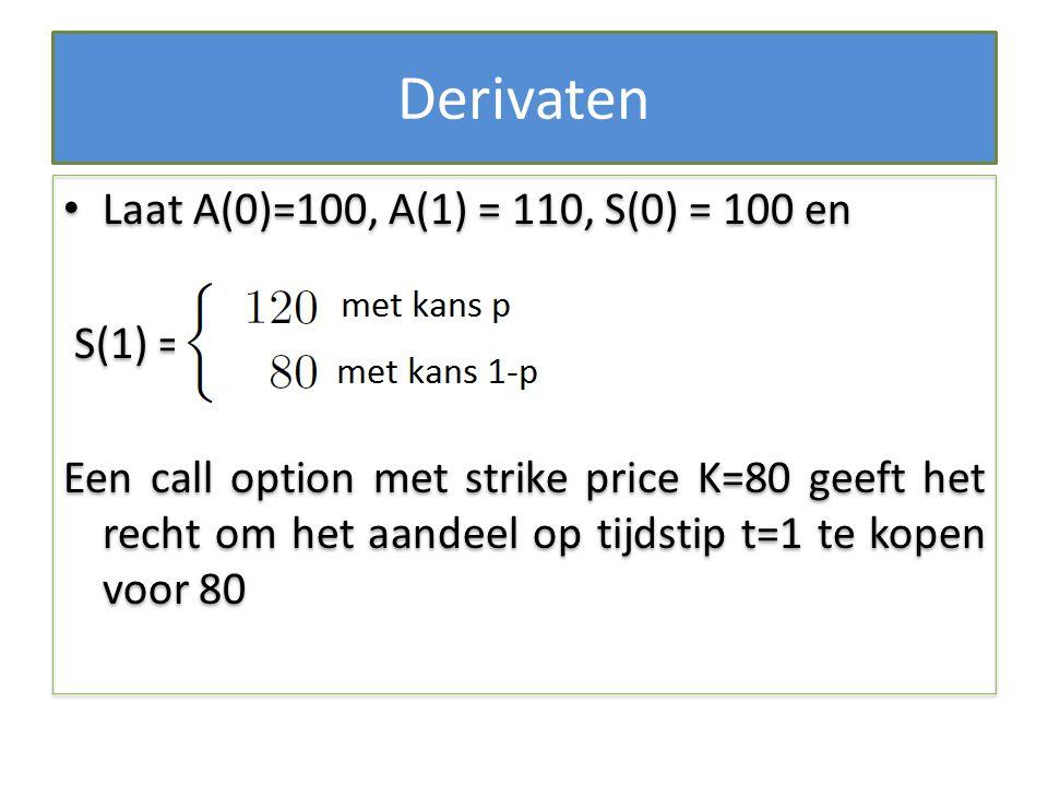 Derivaten Laat A(0)=100, A(1) = 110, S(0) = 100 en S(1) = Een call option met strike price K=80 geeft het recht om het aandeel op tijdstip t=1 te kope