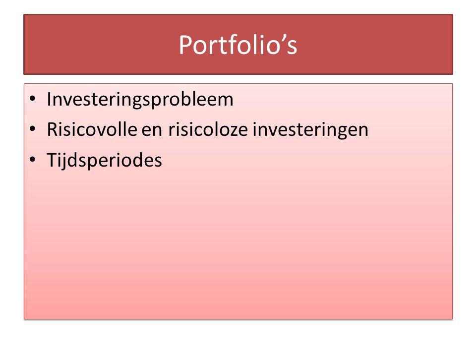 Portfolio's Investeringsprobleem Risicovolle en risicoloze investeringen Tijdsperiodes S(t), A(t) Investeringsprobleem Risicovolle en risicoloze investeringen Tijdsperiodes S(t), A(t)