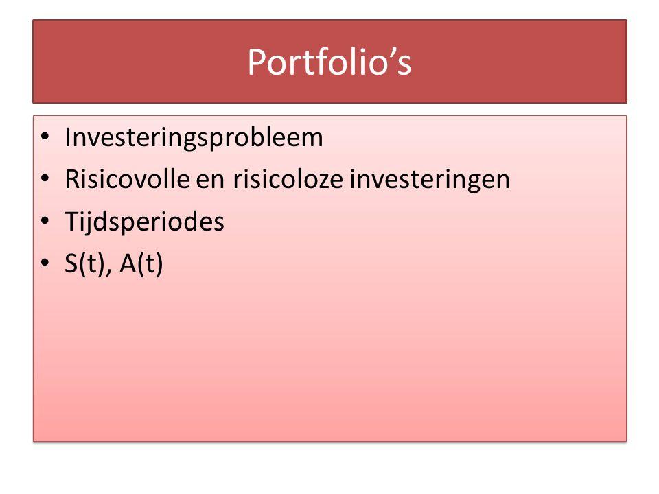 Portfolio's Investeringsprobleem Risicovolle en risicoloze investeringen Tijdsperiodes S(t), A(t) Investeringsprobleem Risicovolle en risicoloze inves