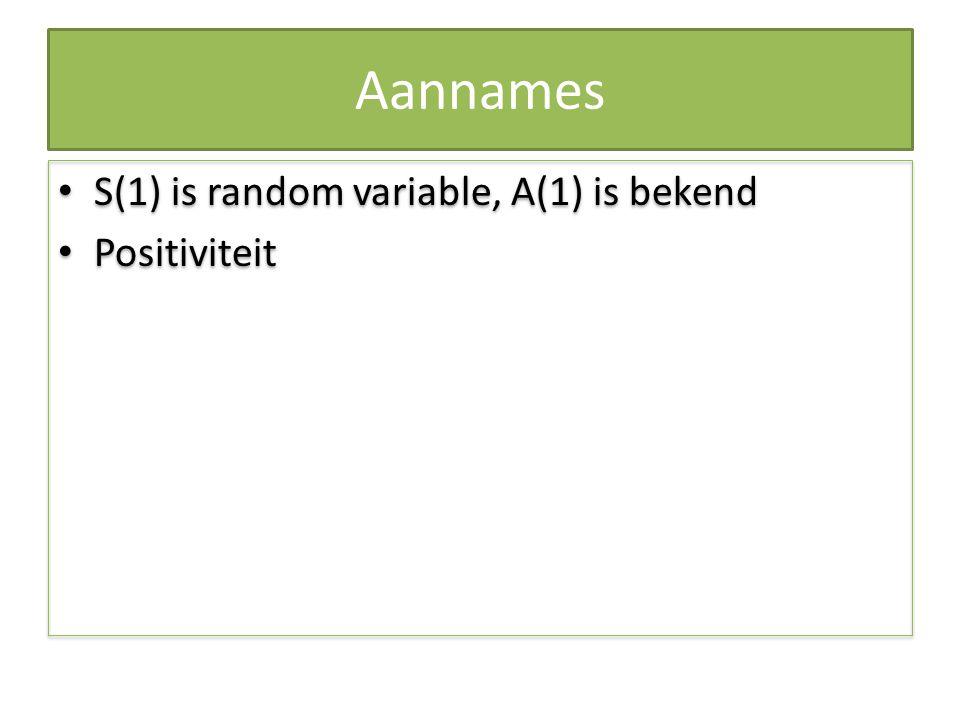 Aannames S(1) is random variable, A(1) is bekend Positiviteit A(t), S(t)>0 voor alle t S(1) is random variable, A(1) is bekend Positiviteit A(t), S(t)>0 voor alle t