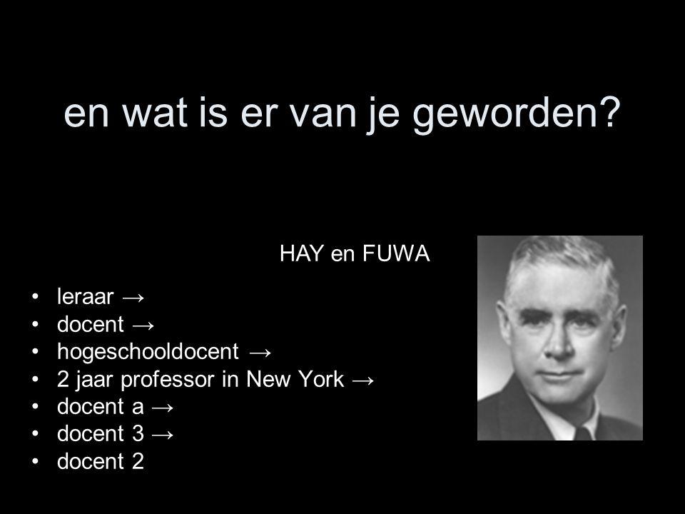en wat is er van je geworden? leraar → docent → hogeschooldocent → 2 jaar professor in New York → docent a → docent 3 → docent 2 HAY en FUWA