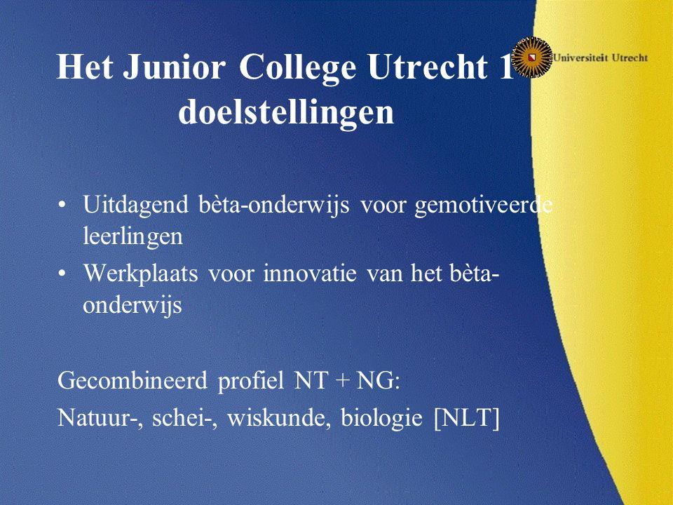 Het Junior College Utrecht 1 doelstellingen Uitdagend bèta-onderwijs voor gemotiveerde leerlingen Werkplaats voor innovatie van het bèta- onderwijs Gecombineerd profiel NT + NG: Natuur-, schei-, wiskunde, biologie [NLT]