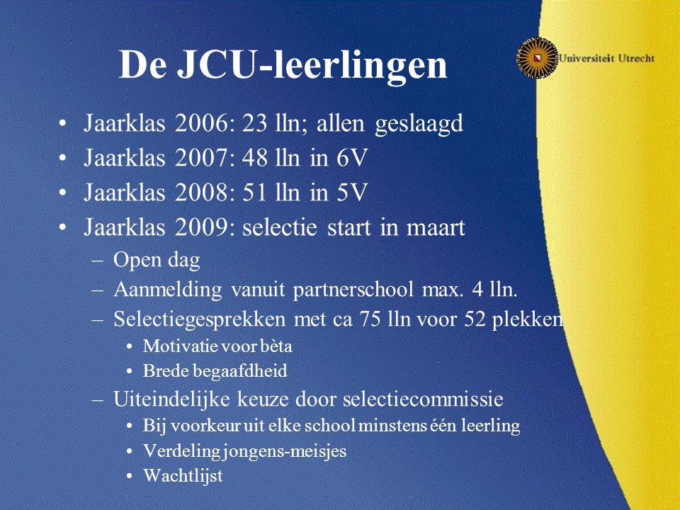 De JCU-leerlingen Jaarklas 2006: 23 lln; allen geslaagd Jaarklas 2007: 48 lln in 6V Jaarklas 2008: 51 lln in 5V Jaarklas 2009: selectie start in maart –Open dag –Aanmelding vanuit partnerschool max.