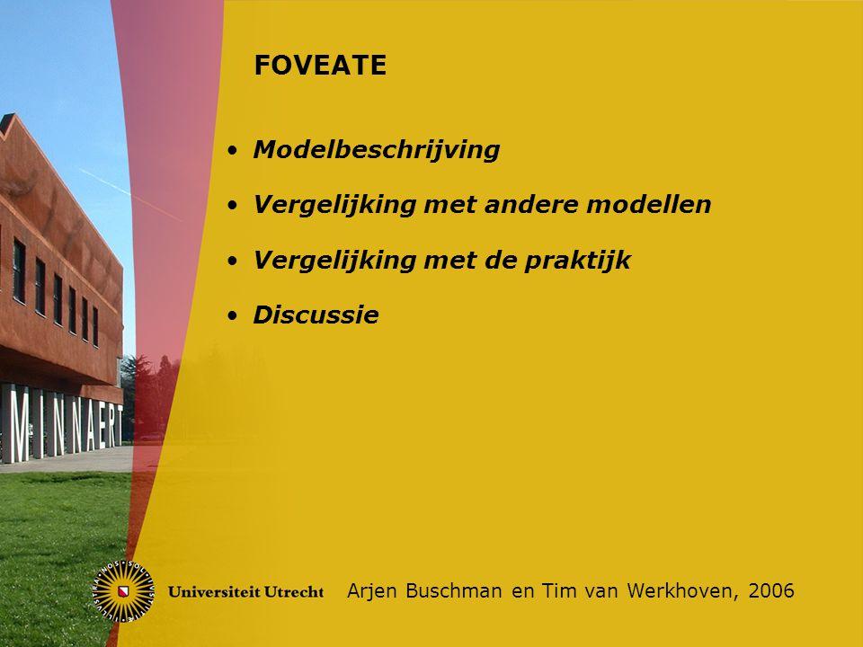 Modelbeschrijving Vergelijking met andere modellen Vergelijking met de praktijk Discussie FOVEATE Arjen Buschman en Tim van Werkhoven, 2006