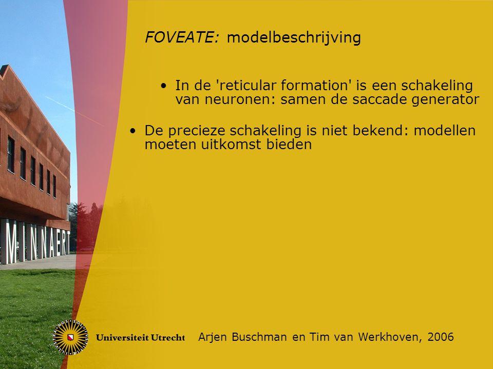 FOVEATE: modelbeschrijving Arjen Buschman en Tim van Werkhoven, 2006 In de reticular formation is een schakeling van neuronen: samen de saccade generator De precieze schakeling is niet bekend: modellen moeten uitkomst bieden